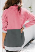 Sweatshirt Colorblock Pink Zipped with Pocket