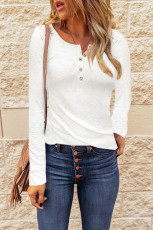 Lace White Back Buttoned Henley Top