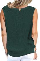 Green Crisscross Hollow-out Knit Tank Top