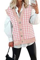 Pink Houndstooth Vest Cardigan