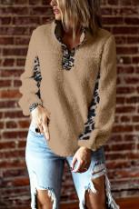Khaki Turn-down Collar Leopard Splicing Sherpa Sweatshirt
