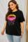 ブラック ネオン リップス グラフィック プラス サイズ T シャツ