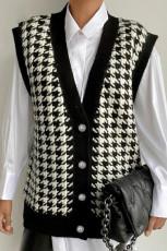 Cardigan Black Houndstooth Vest