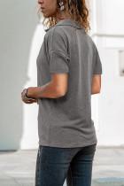 T-shirt Kirasê V Nekolê Dakukê Grey