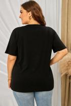 Svart T-skjorte i neonlepper i grafisk størrelse