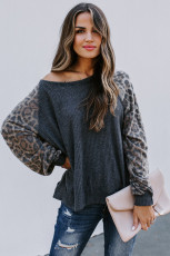Blouse Leopard Patch Ribbed Loose Sleeve Long