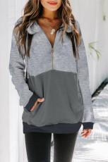 Sweatshirt Colorblock Grey Zipped with Pocket