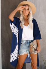 Blue Tie Dye Open Front Beach Cover Up