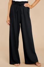 Siyah Günlük Yüksek Bel Paperbag Bel Geniş Paça Pantolon