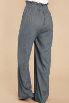 Harmaa rento korkea nousu paperilaukku vyötärö leveä jalka housut