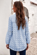 Blå rufsad spets med urringning ihålig puffärm Polka Dot Blus