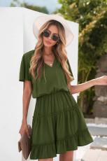Green V Neck Ruffled Swing Mini Dress