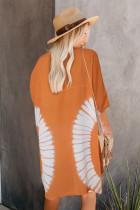 Turuncu Batik Önü Açık Kimono Hırka
