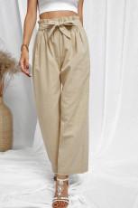 Khaki Casual High Rise Paperbag Waist Wide Leg housut