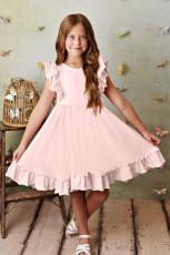 Rózsaszín fodros birodalom derék rakott, folytonos gyerekruha
