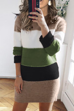 Zelené barevné blokové svetrové šaty