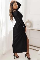 Musta pitkähihainen V-aukkoinen Twist-etureikäinen pitkä mekko