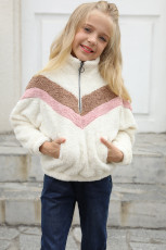 White Stripe Color Block Half Zip Girl Fleece-genser med lomme