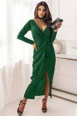 Yeşil Uzun Kol V Yaka Büküm Ön Yırtmaçlı Uzun Elbise
