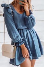 Sininen V-aukkoinen puffihiha ryppyinen tunika mini-mekko