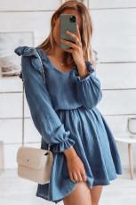 Kirasê Pûçê Blueîn V Neqeba Tûnik Mini Dress