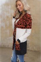 Brun Leopard Block Cardigan med lommer