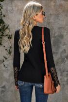 Musta pitsi-painike Slim-fit pitkähihainen paita