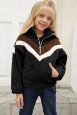 Musta raidallinen värilohko Half Zip Girl Fleece -huppari taskuilla