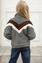 Harmaa raita värilohko Half Zip Girl Fleece -paita taskulla