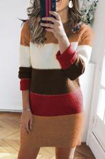 Khaki šaty s barevným blokem