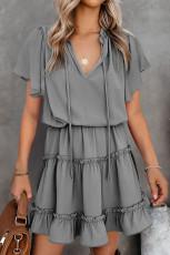 Grey V Neck Ruffled Swing Mini Dress