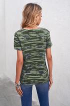 Vihreä naamiointipainatus, lyhythihainen t-paita