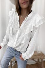 Hvit prikket tekstur Sheer Ruffles Bubble Sleeves Shirt