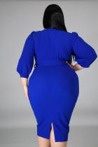 Modré midi šaty z Puff Sleeve Wrap s výstřihem do V a výstřihem do V