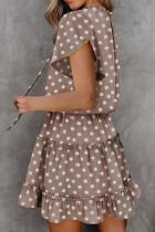 Xaki Print Printing Glitter Glitter Glitter Tunic Mini Dress