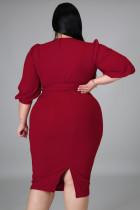 Červené nadměrné šaty z Puff Sleeve Wrap s výstřihem do V a výstřihem do V