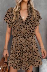 Leopard Cheetah Print Cilên Dûvikê Perçebûyî Kirasê Tûnikî Mini Dress