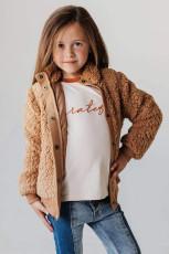 Hnědý dívčí kabát z pevného fleecu