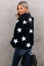 Siyah Yıldız Desenli Fermuarlı Polar Kapşonlu Cepli Kaban
