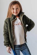 Dívčí kabát z pevného fleecu se zelenými knoflíky