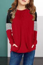 Dívčí halenka s červeným pruhem a dlouhým rukávem Colorblock s kapsou