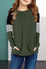 Dívčí halenka s dlouhým rukávem a zeleným proužkem Colorblock s kapsou