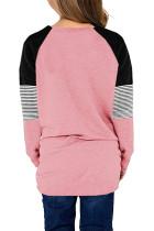 Růžová pruhovaná dívčí halenka s dlouhým rukávem Colorblock s kapsou