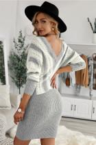 Vestito maglione scava fuori colorblock grigio