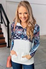 Sweat-shirt à col zippé et patchwork à imprimé bohème