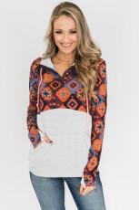 Sweat-shirt orange à col zippé et patchwork de blocs de couleurs à imprimé bohème