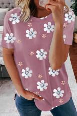 Różowa koszulka z kwiatowym wzorem