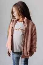Růžový dívčí kabát z pevného fleecu
