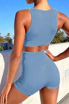 Blaues nahtloses U-Ausschnitt-Oberteil und Shorts Yoga Gym Sports Wear