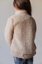 Dívčí kabát z béžového zapnutého flísu